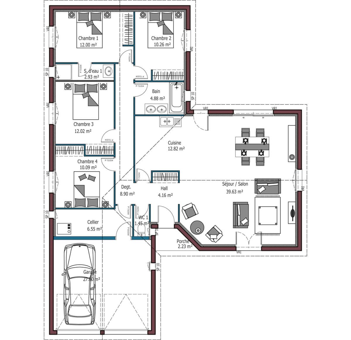 Modele De Maison Atlanta Plan Maison 100m2 Maison Mca Plan Maison