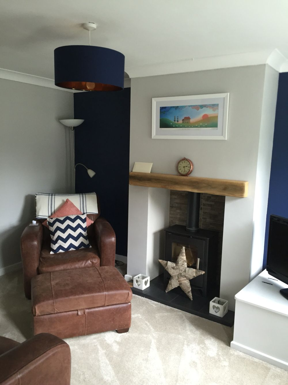 Living Room Feature Wall Decor: Dulux Sapphire Salute And F&B Cornforth White Living Room