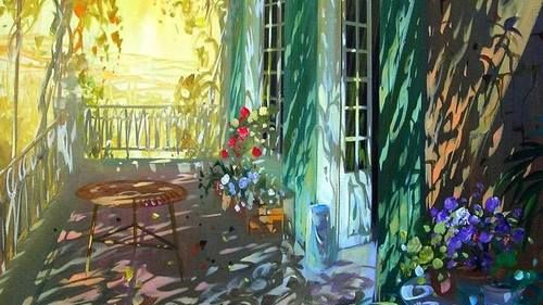 A l'ombre  sur la terrasse by LAURENT PARCELIER