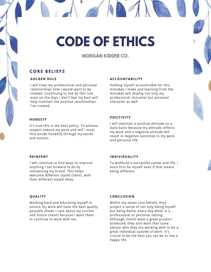 Personal Code Of Ethic What Are Example Ethical Value Career Cliff Core Beliefs Mission Statement