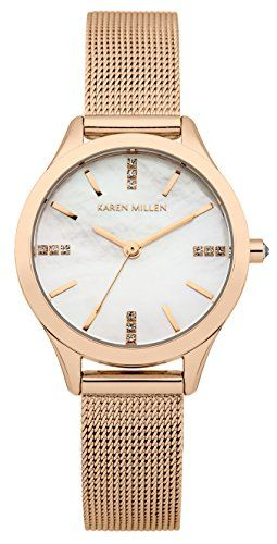 Karen Millen Women's Quartz Watch with Mother of Pearl Dial Analogue Display and Rose Gold Plated Stainless Steel Bracelet KM140RM