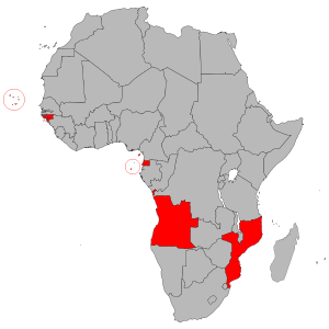 The Portuguese-speaking African countries (also referred to as Lusophone Africa) consist of six African countries in which the Portuguese language is an official language: Angola, Cape Verde, Guinea-Bissau, Mozambique, São Tomé and Príncipe and Equatorial Guinea.[1]