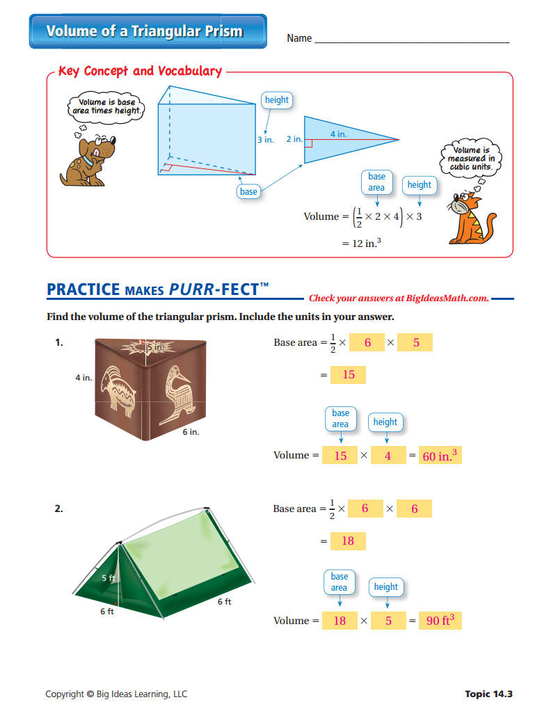 Volume of a Triangular Prism Worksheet - ANSWERS ...