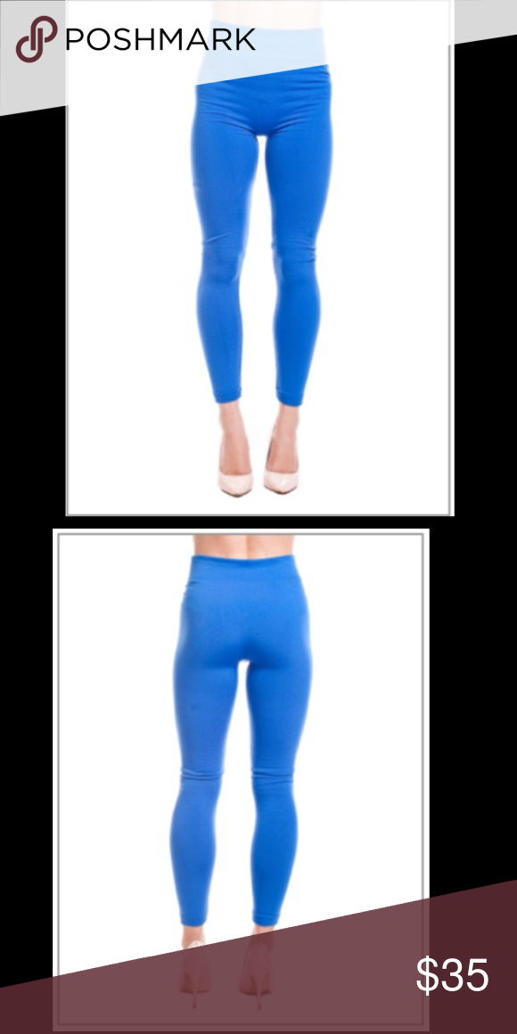 Blue high waisted leggings Stay warm in these blue fleece leggings this cold season. Athletic high waisted. Made of 65% Polyester, 20% Cotton, and 15% Spandex. One size fits most Pants Leggings