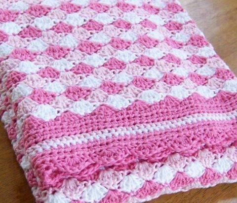 White And Pinky Baby Shells Afghan Free Crochet Pattern Free