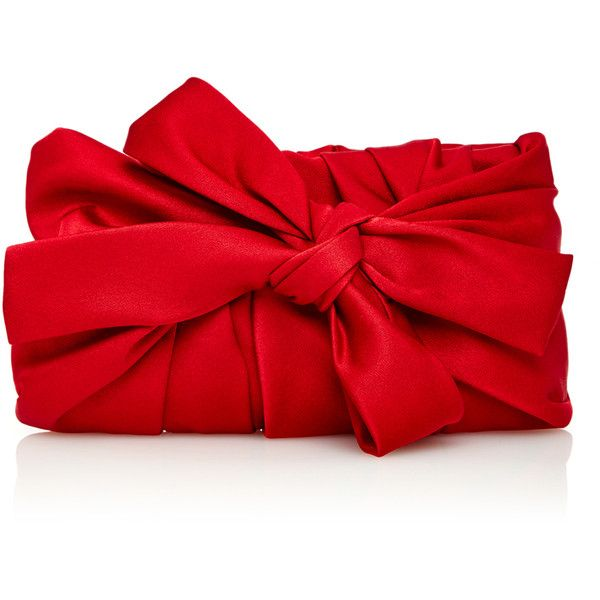Paule Ka Sanguine Satin Ruched Bow Clutch (1.325 BRL) ❤ liked on Polyvore featuring bags, handbags, clutches, red clutches, bow purse, satin clutches, red purse and bow handbag