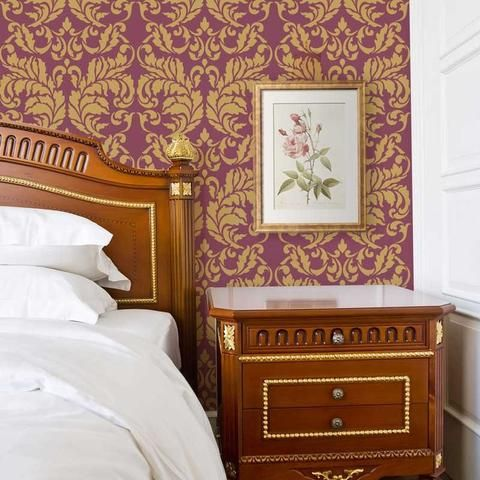 Acanthus Damask Wall Stencil Damask stencil, Damask wallpaper and