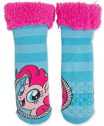 7410ecf1f20 Blue My Little Pony Slipper Socks -Pink Faux Fur
