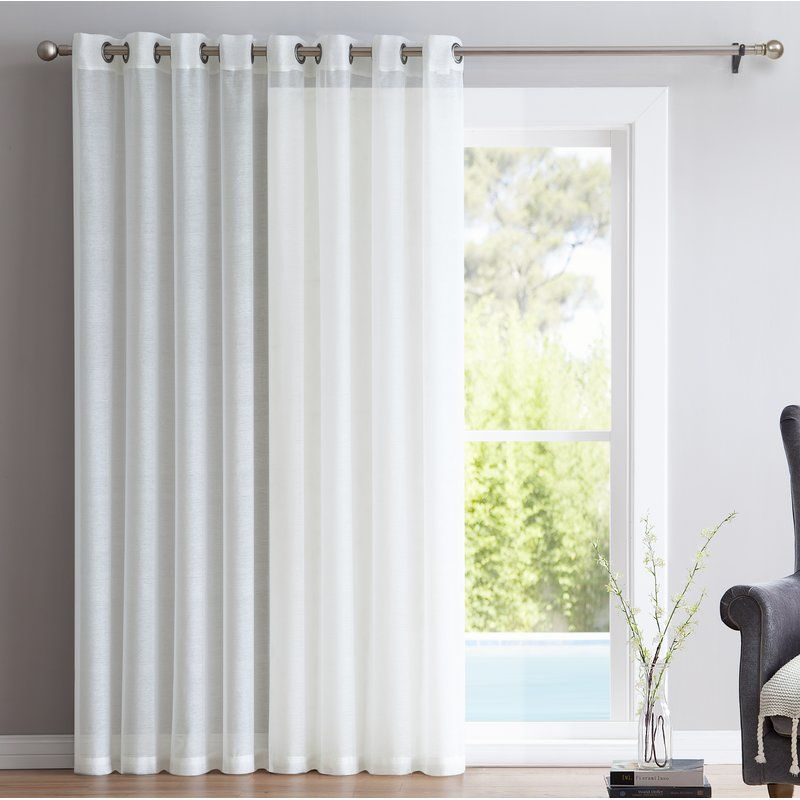 Lenwood Patio Door Solid Sheer Grommet Single Curtain Panel Door