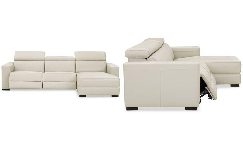 Nevio Leather Power Reclining Sectional Sofa Baci Living