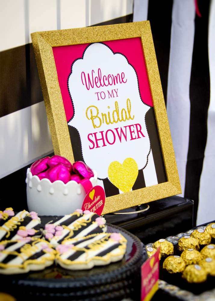 welcome sign at a kate spade bridal shower party see more party planning ideas at catchmypartycom