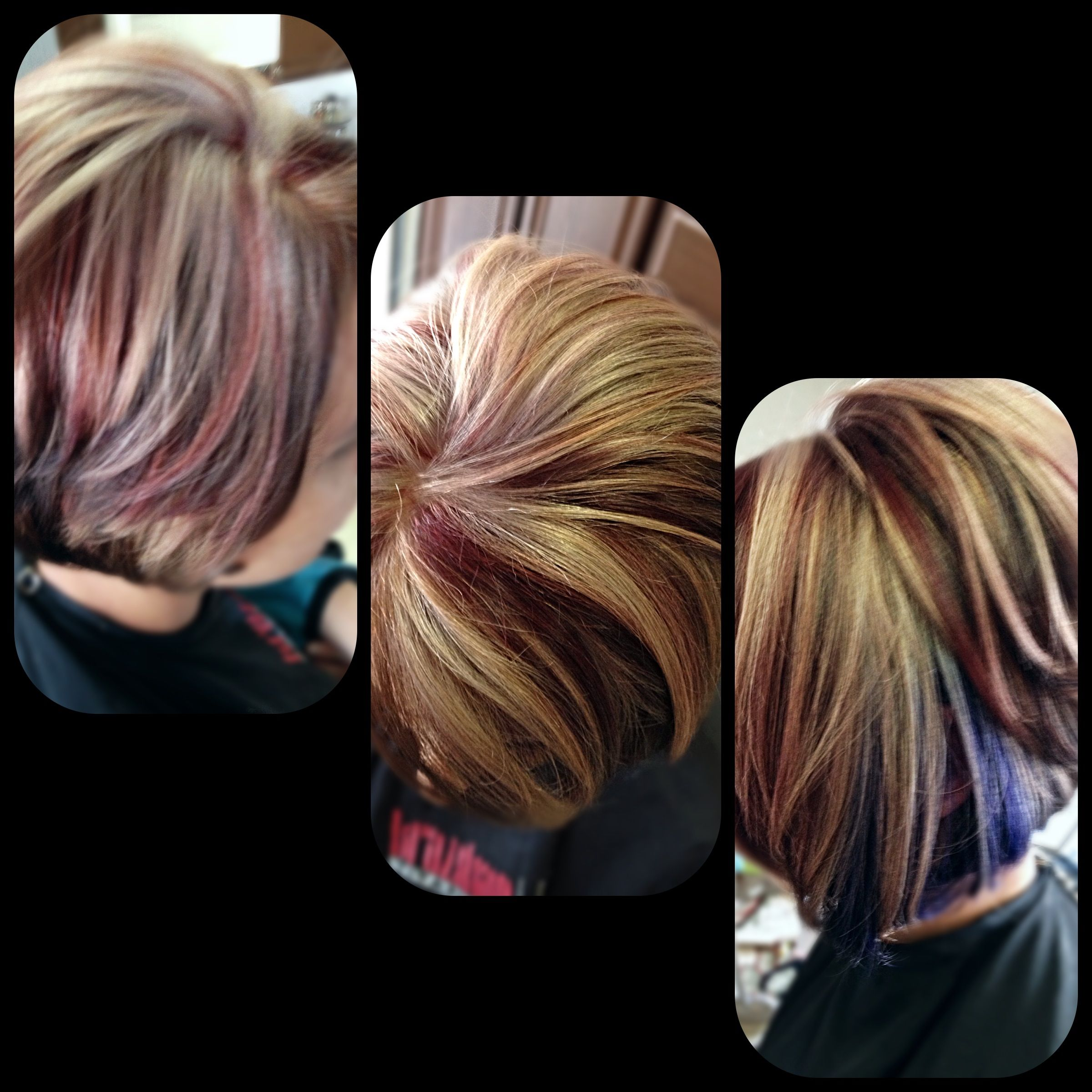 Beige Blonde And Red Highlights Brown Hair Color With Purple Peek A