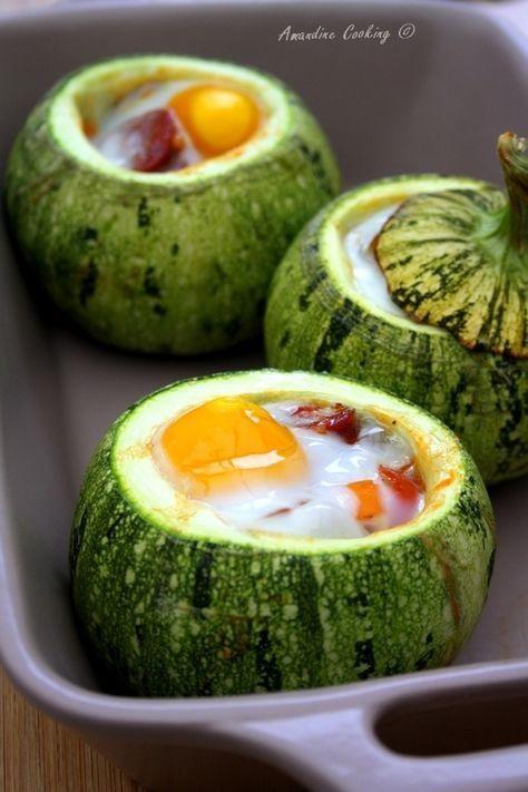 Courgettes rondes farcies (poivron, tomate, chorizo & oeuf   Recettes de cuisine, Cuisine, Recette