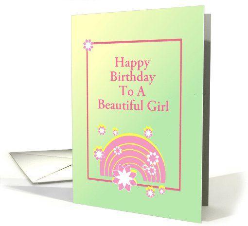 Pink Rainbow Designcustom Birthday Card For Girl Card Thank You
