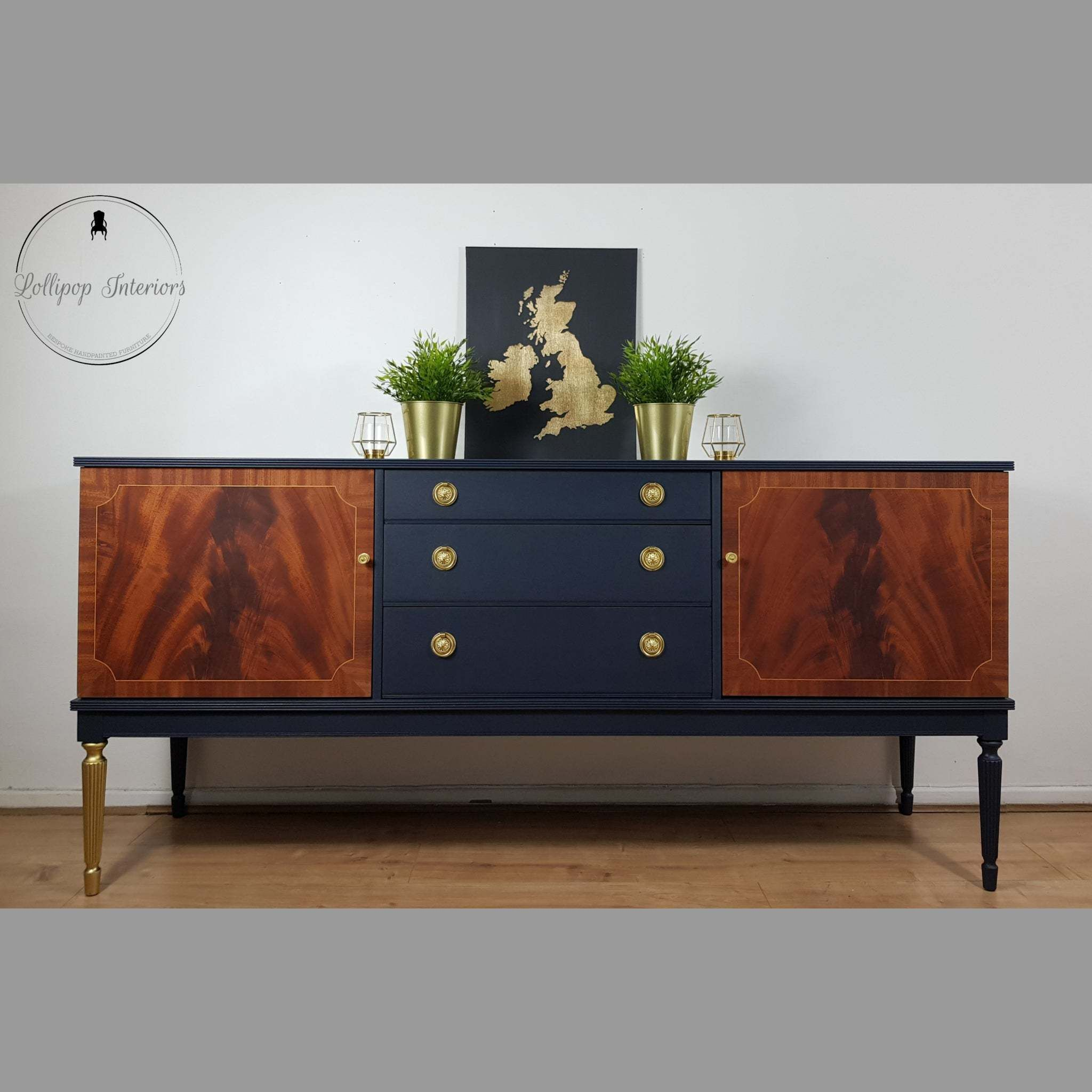 Greaves And Thomas Navy Sideboard With Oiled Wooded Doors And Brass Handles Retro Sideboard Diy Furniture Renovation Diy Modern Furniture