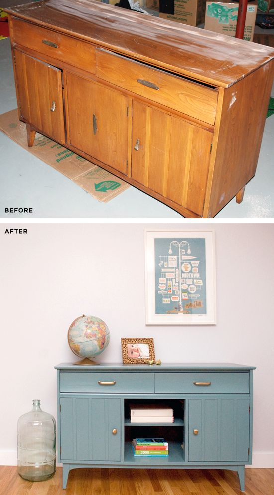 Before and After: Hutch. Great DIY.