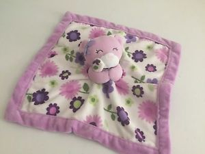 CARTER/'S SECURITY BLANKET BEAR FLOWERS PURPLE PINK FLORAL BABY GIRL LOVEY