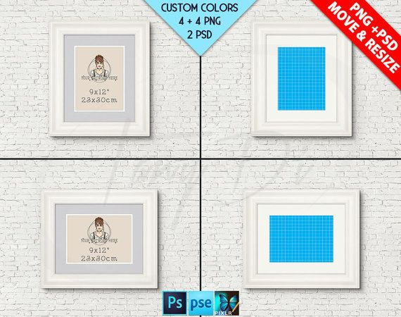 9x12 #W01 White Portrait & Landscape Frames on Brick Interior wall ...