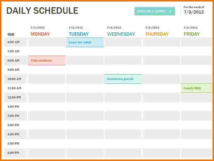 daily schedule template the template was created with all us