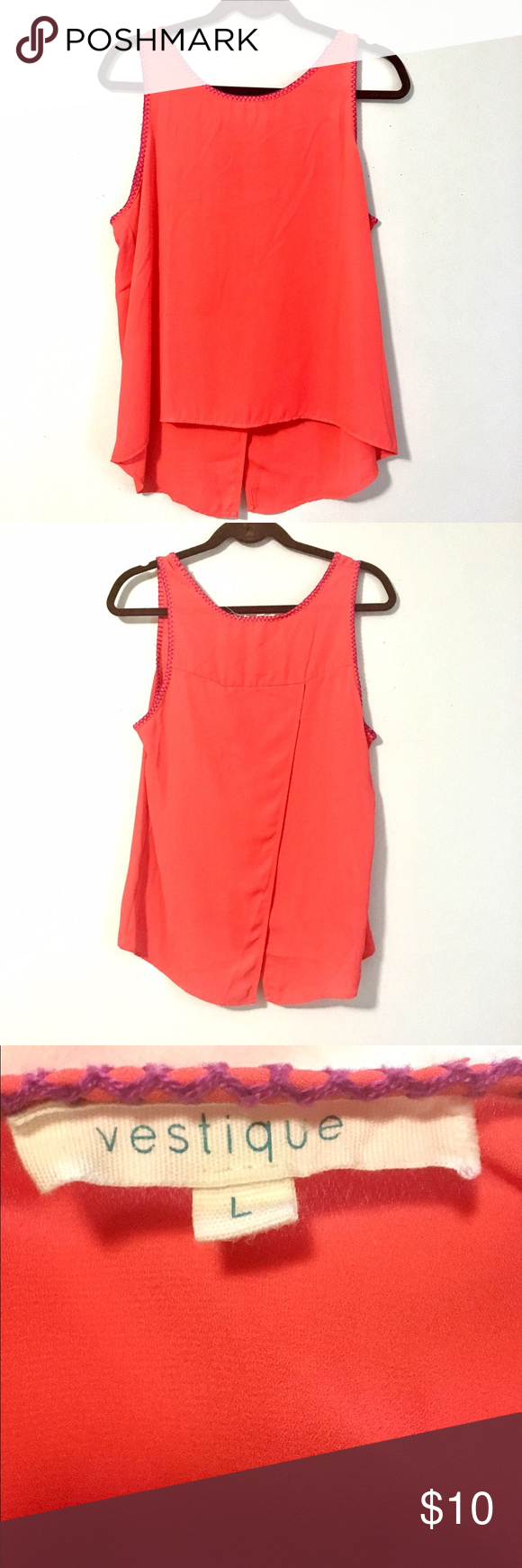 Coral Red Blouse Super cute chiffon slit-back top in coral red. Perfectly paired with white denim for spring and summer! Only worn once or twice, in excellent like-new condition. Purchased from Vestique boutique Vestique Tops