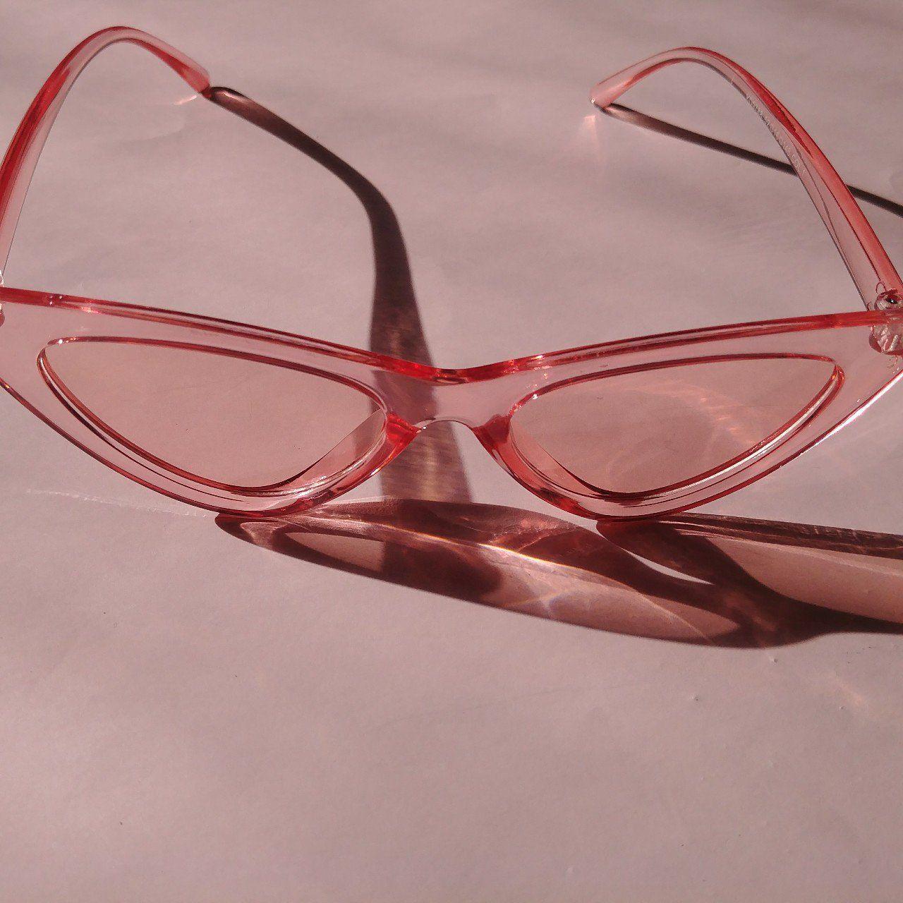 4e1a72f78eaaf Pink transparent cat eye shades Brand new  sunglasses - Depop