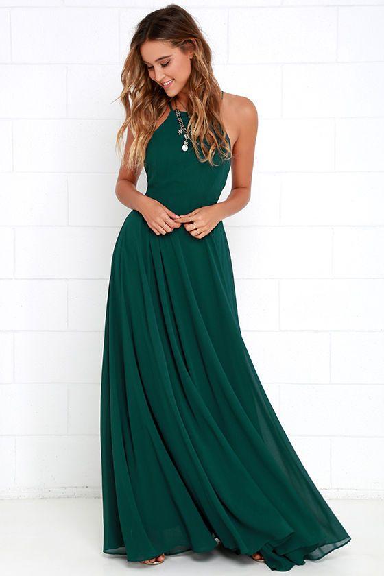 Legergroene Maxi Jurk.Lulus Mythical Kind Of Love Dark Green Maxi Dress Size Large
