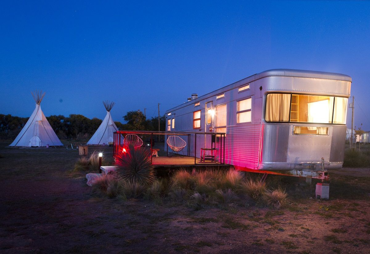 el cosmico marfa tx usa stay in a vintage trailer
