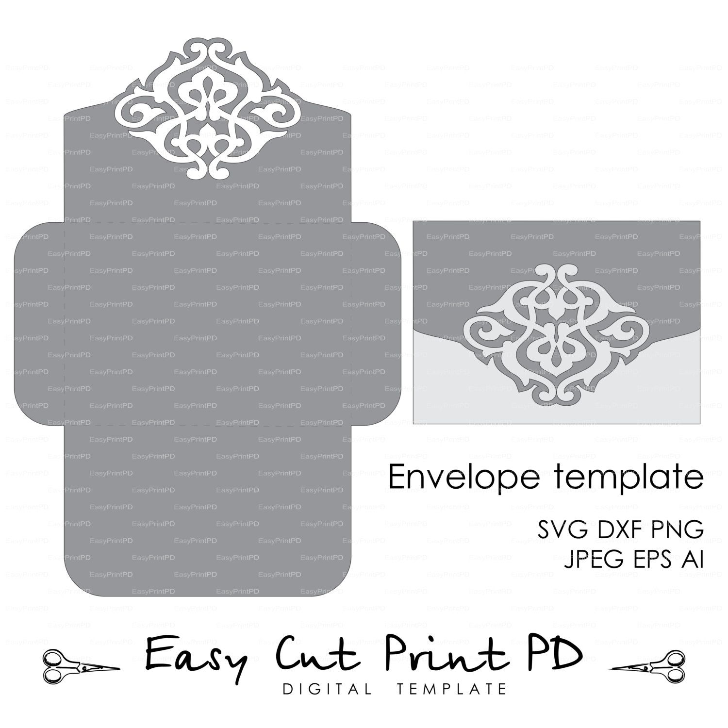 wedding envelope template instant download cutting file svg dxf