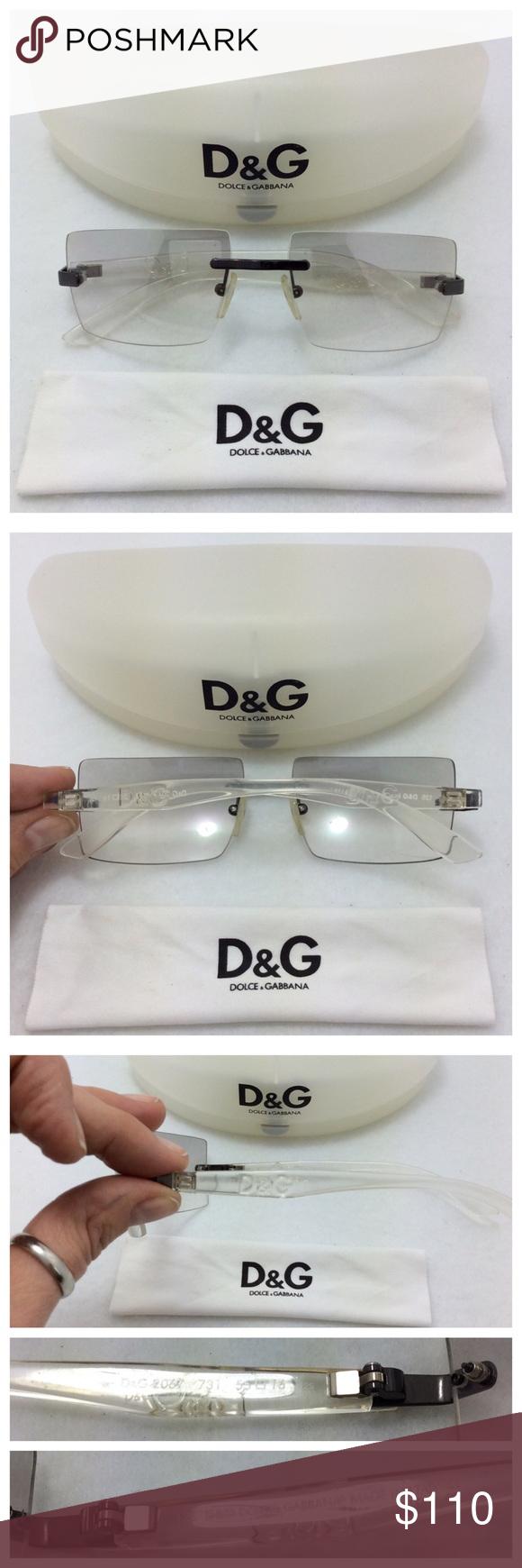 057efc559623 Dolce & Gabbana Sunglasses D&G 2067. Rare Rimless Sunglasses with clear  rectangular lenses, slight