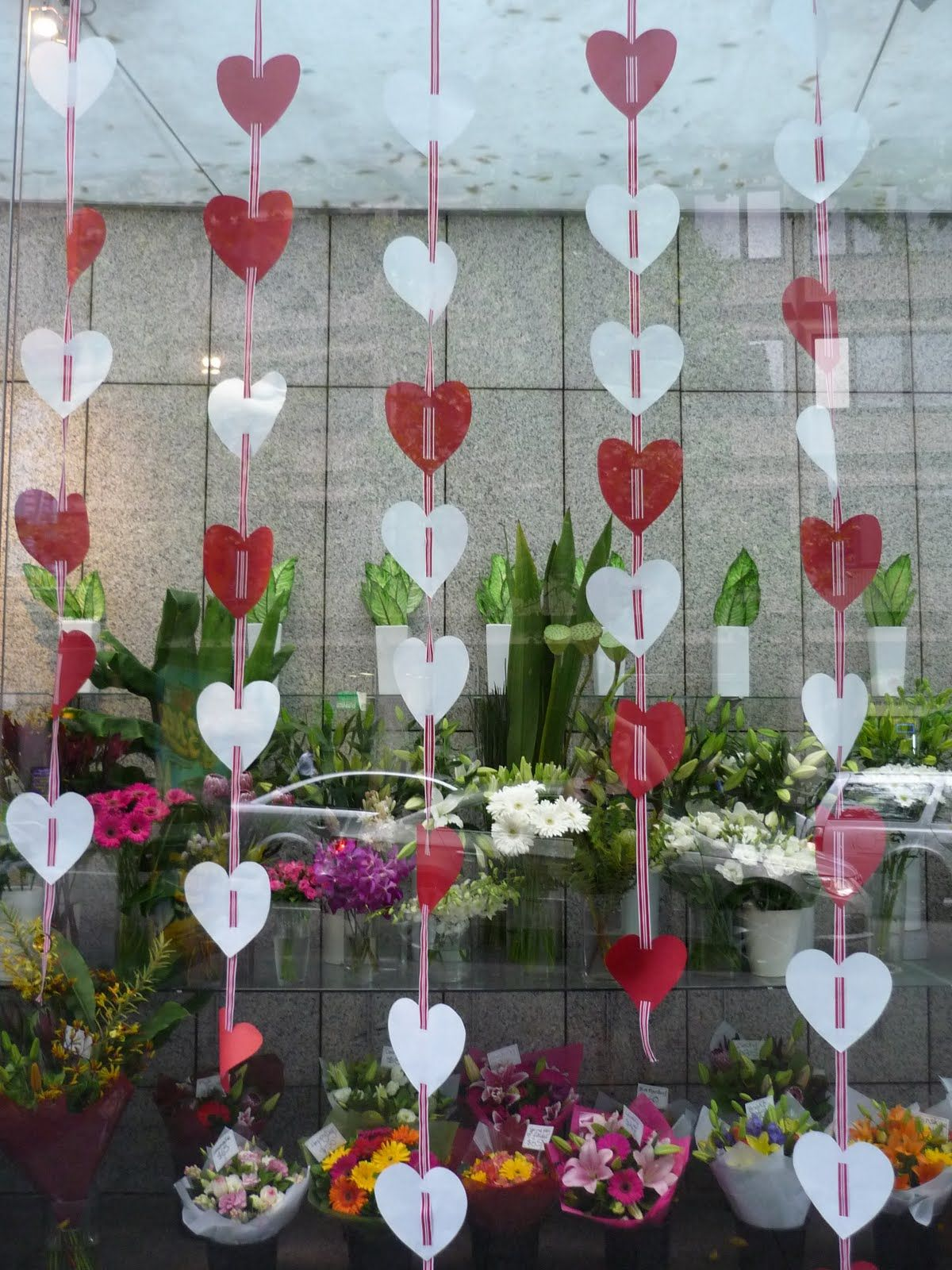 flower shop window displays for valentines day