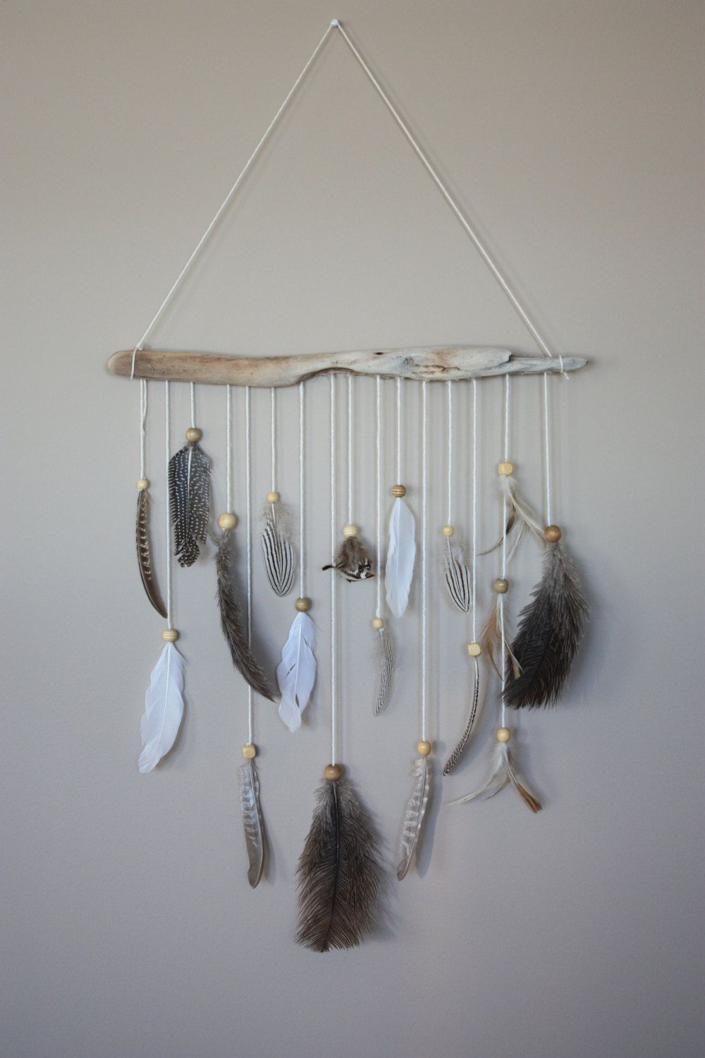 Feather Wall Hanging Driftwood Mobile Boho Decor Feathers Natural Art By