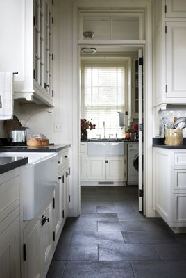 White Cabinets Black Counter Tops And Dark Tile Floor Slate Kitchen Slate Floor Kitchen Kitchen Floor Tile