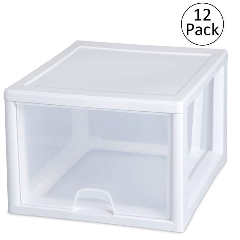 Sterilite 27 Qt Single Box Modular Stacking Storage Container Clear 12 Pack Storage Storage Containers Plastic Storage Drawers