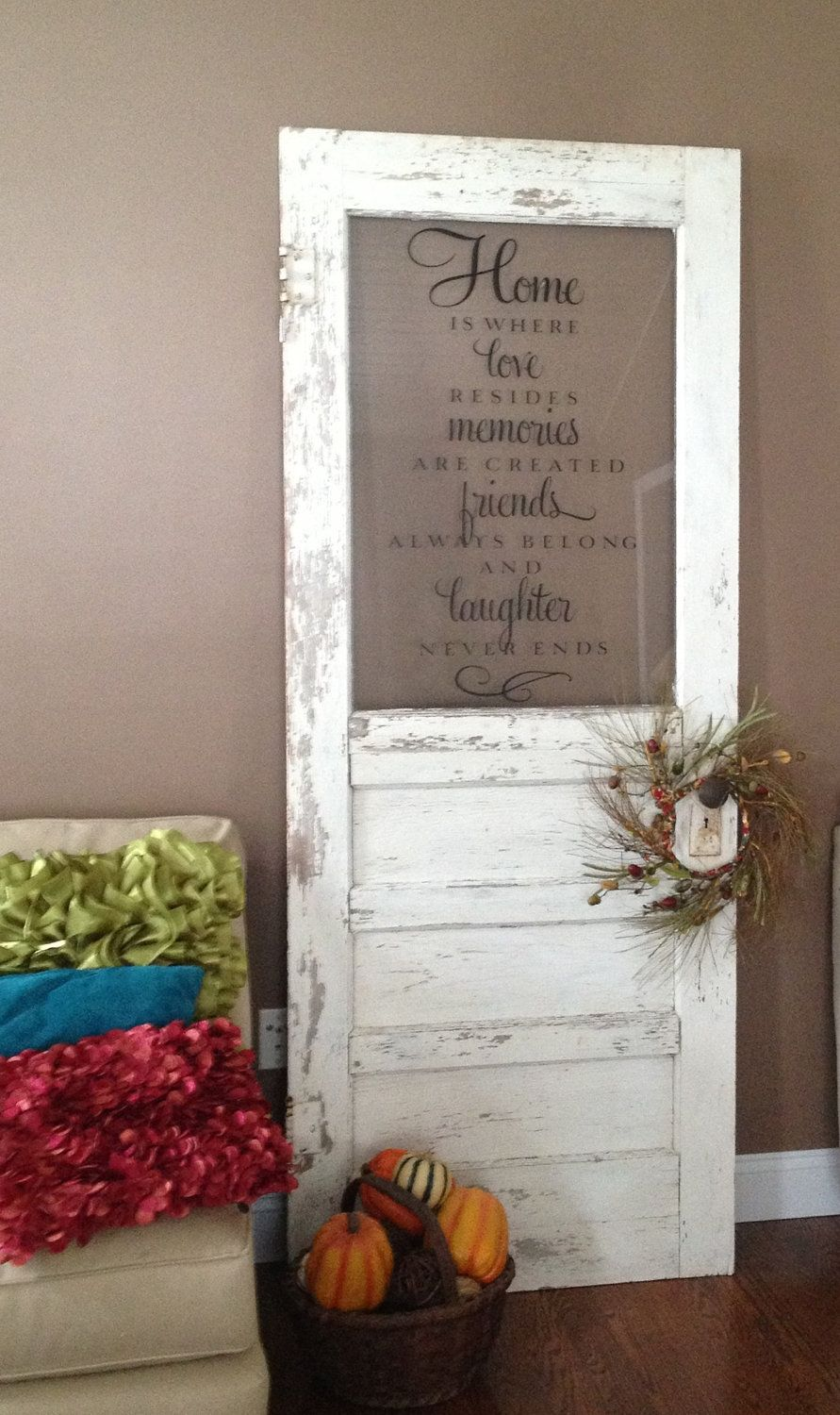 I love this idea.... Items similar to Antique Door Decoration on ...