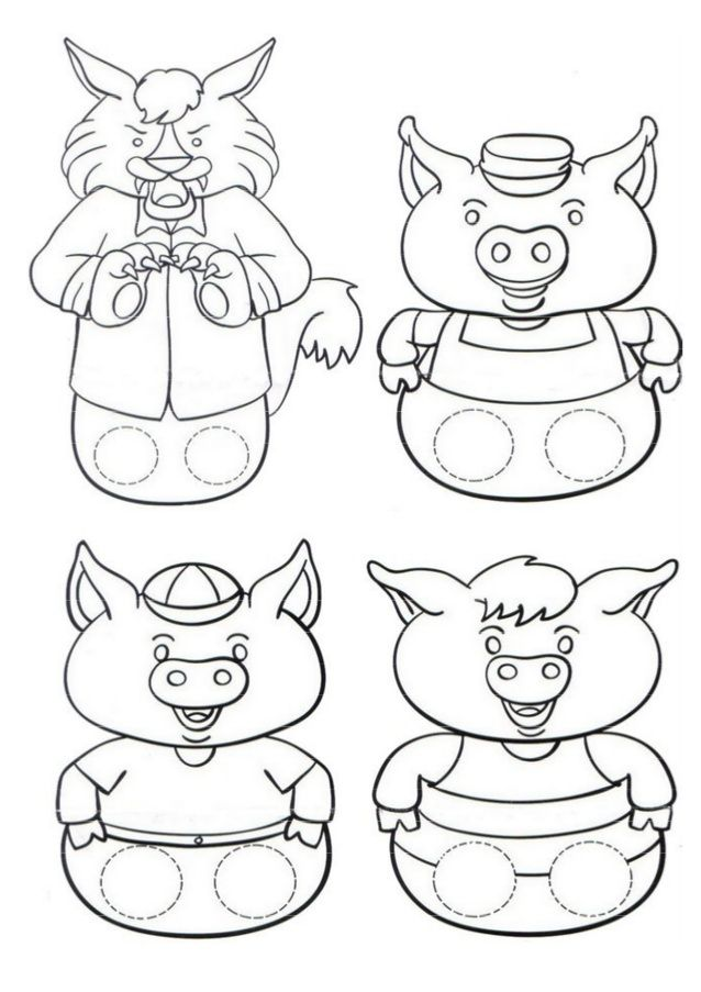 Stick Puppet Templates Three Little Pigs