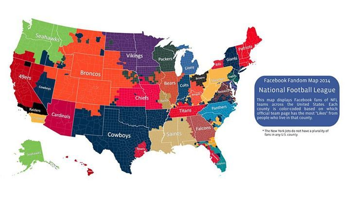 Facebook Releases Cool Map Featuring Most Popular Nfl Teams By County Only One Team Didn