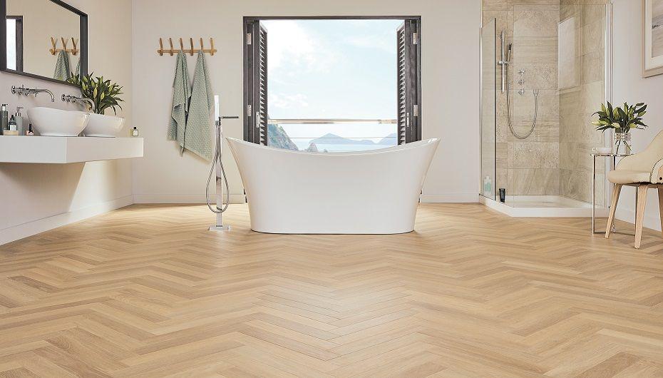 Bathroom Trends To Impress Karndean Art Select Savannah Oak Parquet Bathroom Trends Bathroom Style Latest Bathroom