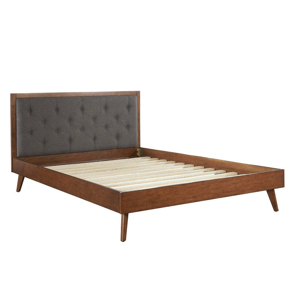 Best Queen Bed Mid Century Platform Upholstered Walnut Brown 400 x 300
