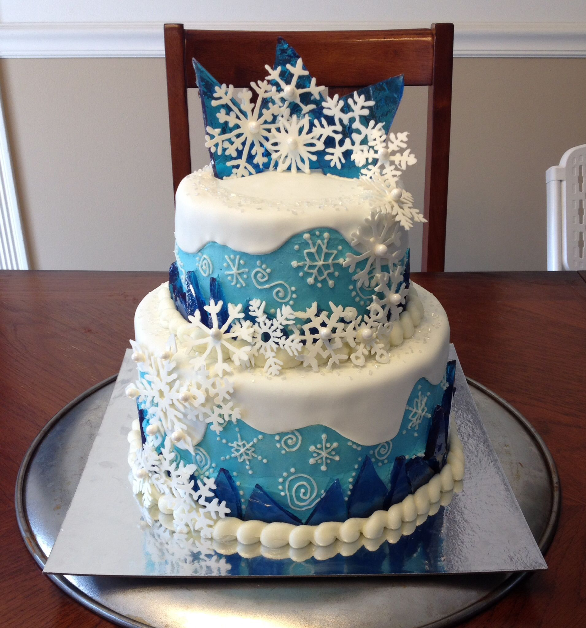 Frozen Elsa Cake with hard candy ice crystals and white ...