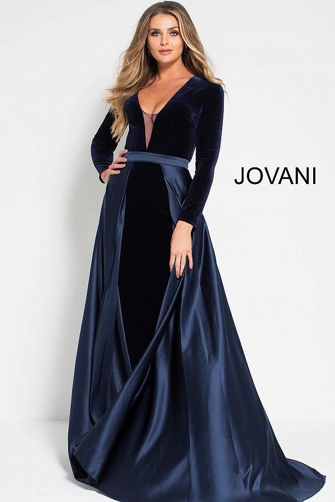 43448c60cbd Navy long sleeve velvet dress with satin draped over skirt and train ...