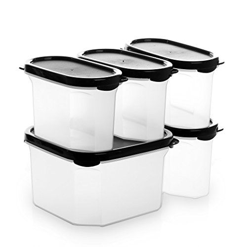 Bino 10 Piece Airtight Stackable Kitchen Storage Container Pantry Set Black Learn More B Kitchen Storage Containers Food Storage Container Set Food Storage