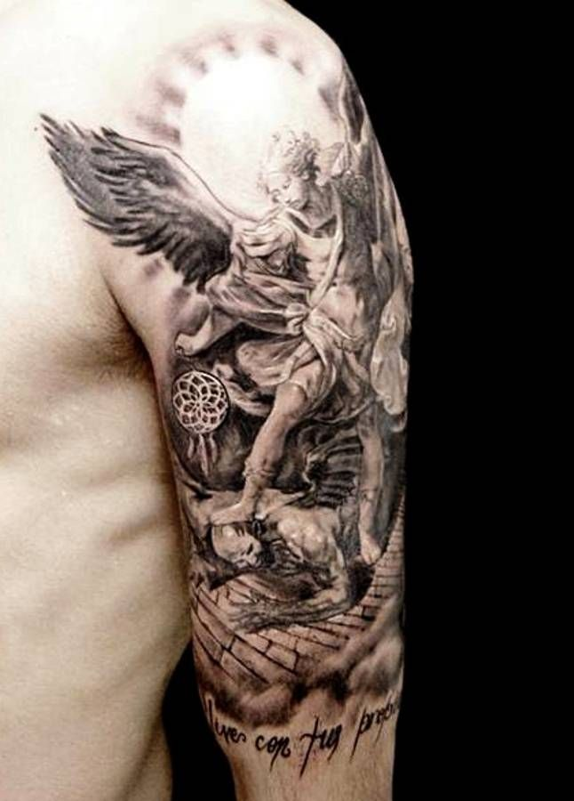 14ee4ed3735dc Well detailed angel half-sleeve | ☆ Guardian Angel Tattoos ...