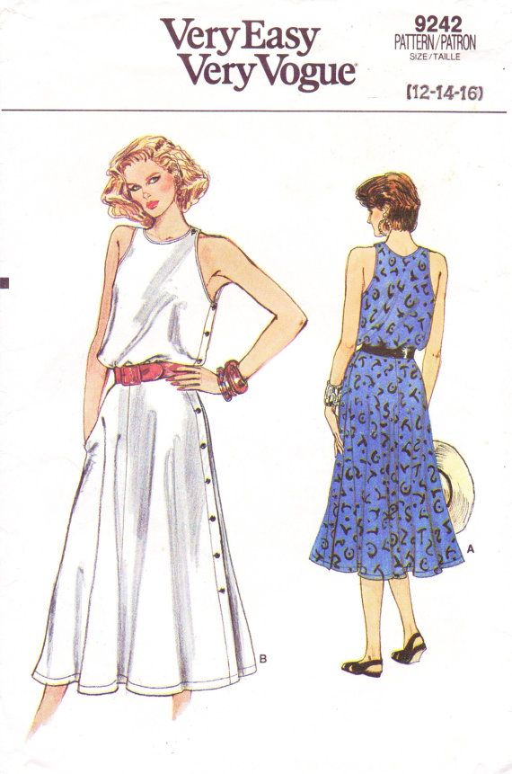 80s Very Easy Very Vogue Pattern 9242 Womens Side Buttoned Summer ...