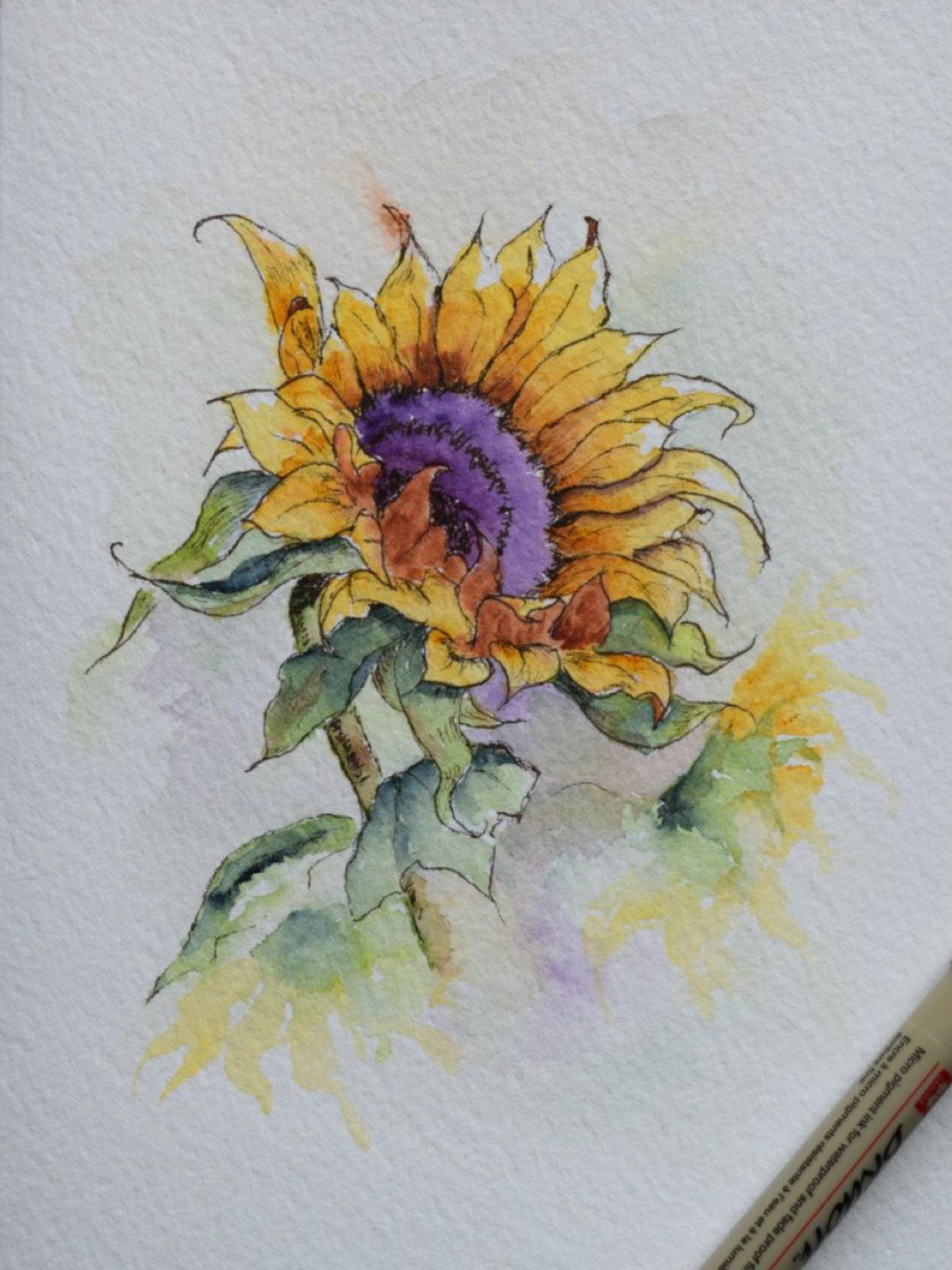 Pin By Anne Chenard On Les Arts A La Portee De Tous Sunflower Art Watercolour Inspiration Watercolor
