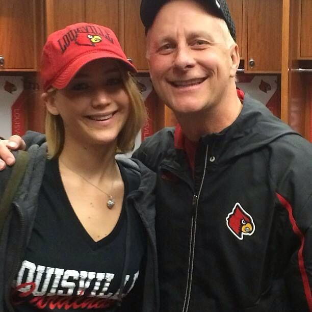 Jennifer Lawrence And Terry Meiners At The Louisville Basketball Game Today Louisville Cardinals Louisville Cardinals Basketball Jennifer Lawrence Family