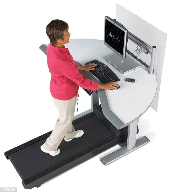 save yourself from 39 sitting disease 39 use a stand up desk which comes with built in treadmill. Black Bedroom Furniture Sets. Home Design Ideas