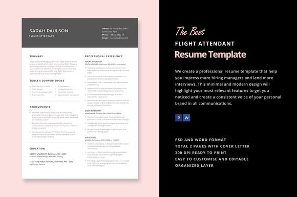 Resume For Flight Attendant Flight Attendant Resume Template  Template