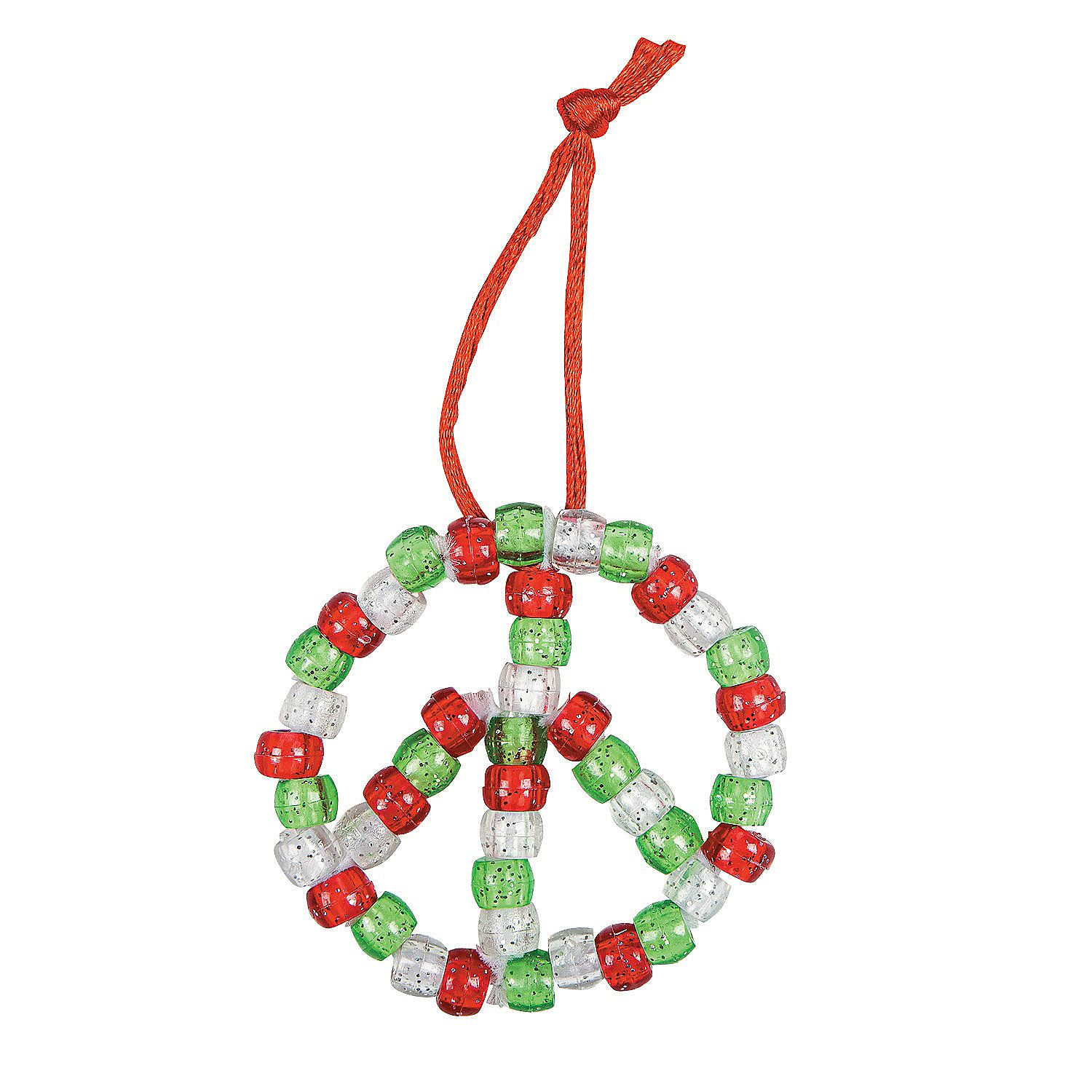 Beaded Peace Sign Ornament Craft Kit  Orientaltradingcom