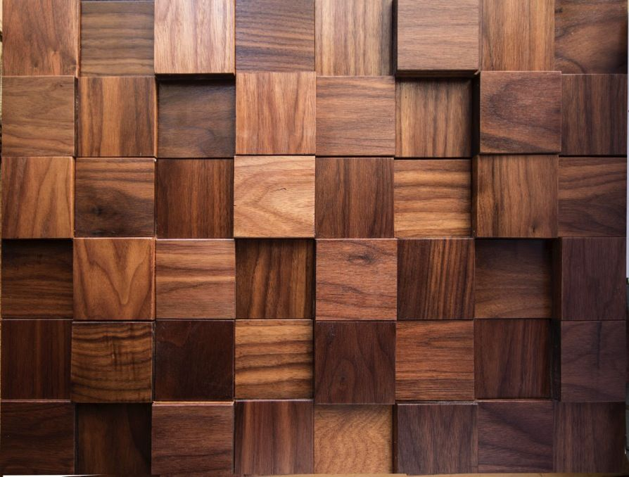 Walnut cuttoffs wood wall panel squares pattern bed for 180 water street 9th floor