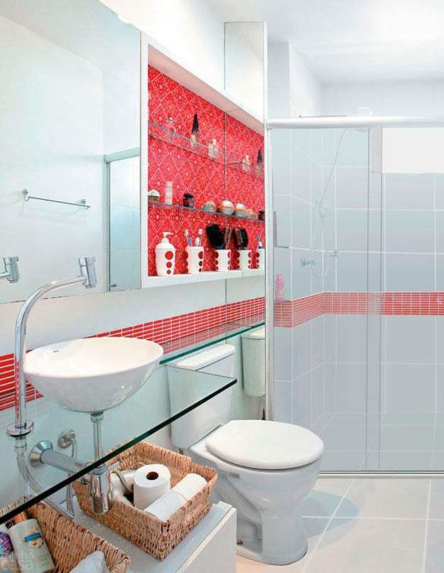 Lindo Banheiro Claro Com Toque Vermelho Com Imagens Banheiro